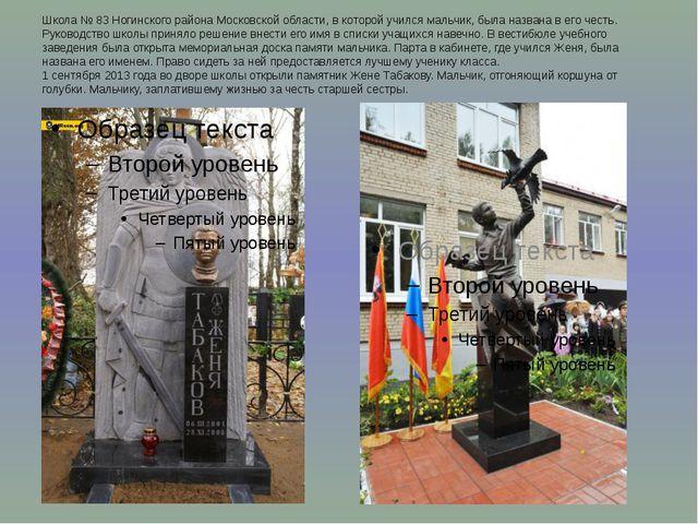 Школа № 83 Ногинского района Московской области, в которой учился мальчик, бы...