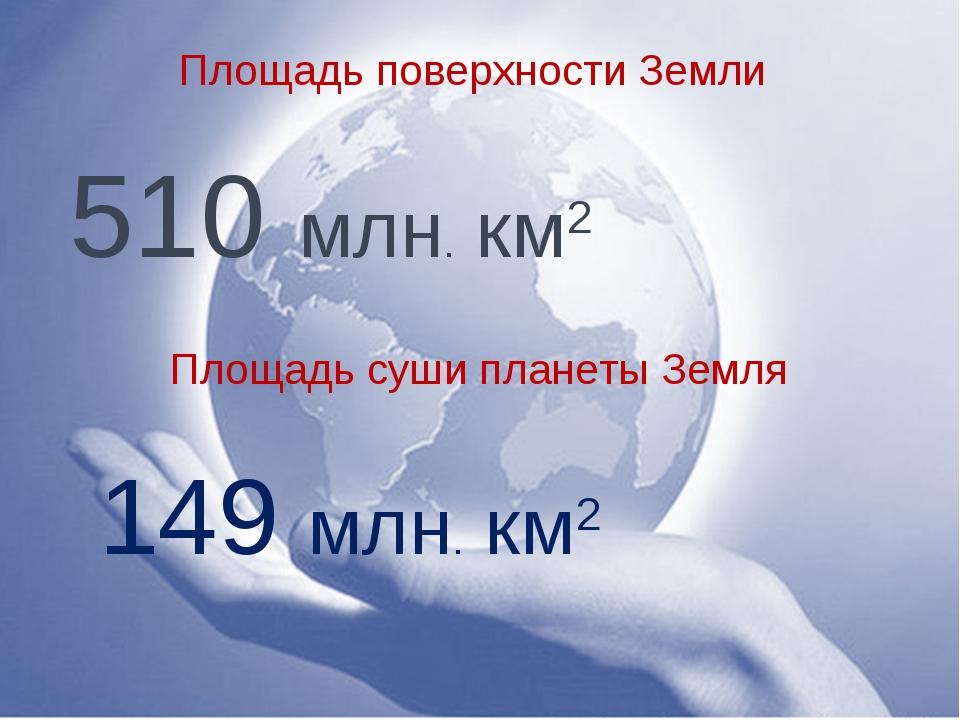 Площадь поверхности Земли 510 млн. км2 Площадь суши планеты Земля 149 млн. км2