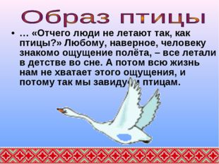 … «Отчего люди не летают так, как птицы?» Любому, наверное, человеку знакомо
