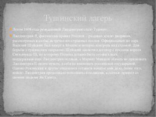 Летом 1608 года резиденцией Лжедмитрия стало Тушино. Лжедмитрий II, фактическ