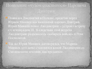 Появился Лжедмитий в Польше, представ перед Юрием Мнишек как выживший царевич