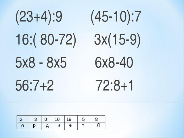 (23+4):9 (45-10):7 16:( 80-72) 3х(15-9) 5х8 - 8х5 6х8-40 56:7+2 72:8+1 2 о 3...