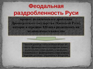 процесс политического дробления Древнерусского государства (Киевской Руси), к