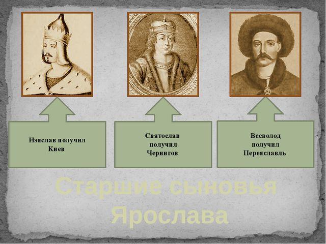 Старшие сыновья Ярослава Изяслав получил Киев Святослав получил Чернигов Все...