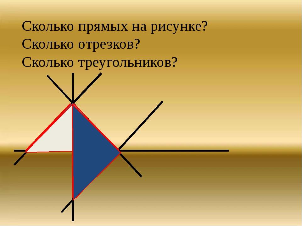 Сколько прямых на рисунке? Сколько отрезков? Сколько треугольников?
