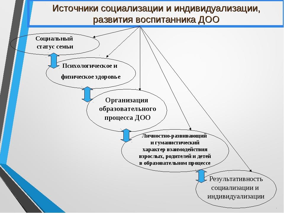 Источники социализации и индивидуализации, развития воспитанника ДОО Личностн...
