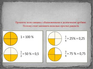 Проценты тесно связаны с обыкновенными и десятичными дробями. Поэтому стоит