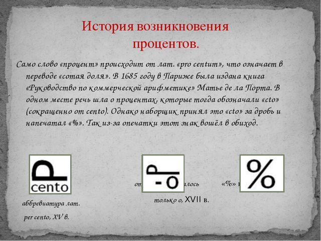 История возникновения процентов. Само слово «процент» происходит от лат. «pro...