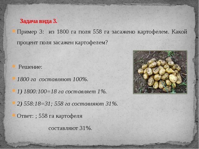 Пример 3: из 1800 га поля 558 га засажено картофелем. Какой процент поля заса...