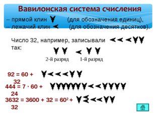 –прямой клин (для обозначения единиц), –лежачий клин (для обозначения десят