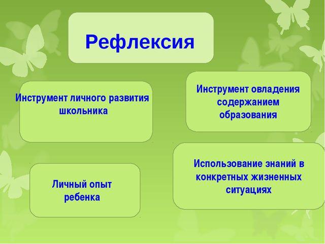 Рефлексия Инструмент овладения содержанием образования Использование знаний в...