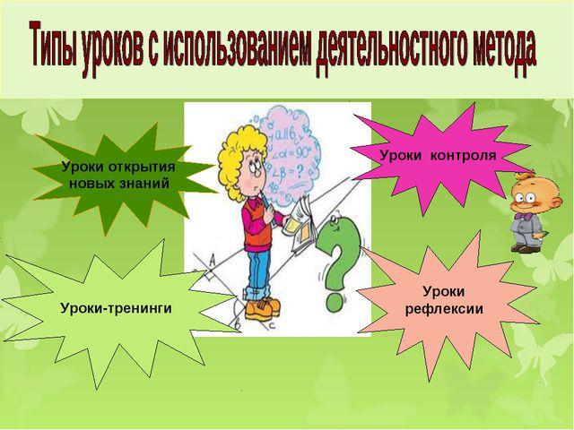 Уроки открытия новых знаний Уроки рефлексии Уроки-тренинги Уроки контроля