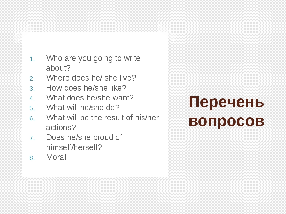 Перечень вопросов Who are you going to write about? Where does he/ she live?...