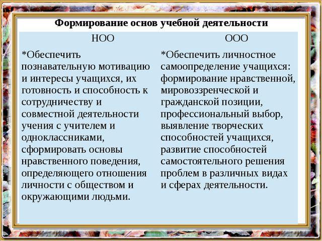 Формирование основ учебной деятельности НОО ООО *Обеспечить познавательную мо...