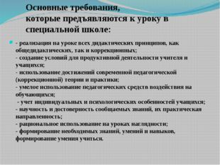 Основные требования, которые предъявляются к уроку в специальной школе: - реа