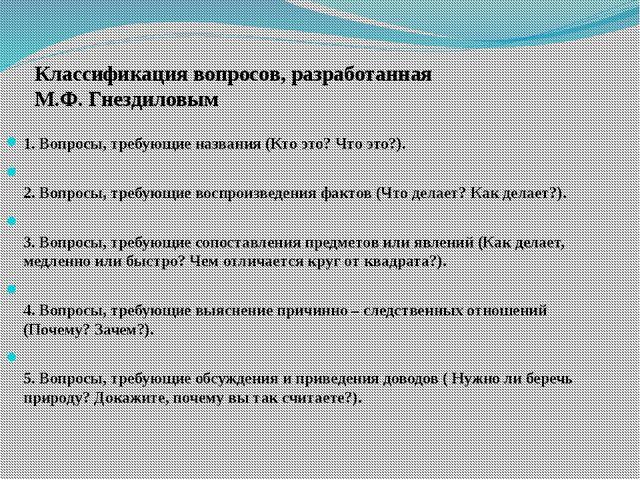 Классификация вопросов, разработанная М.Ф. Гнездиловым 1. Вопросы, требующие...