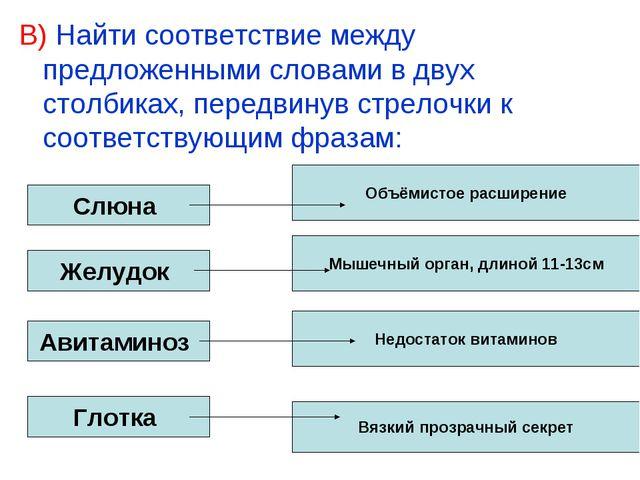 В) Найти соответствие между предложенными словами в двух столбиках, передвину...