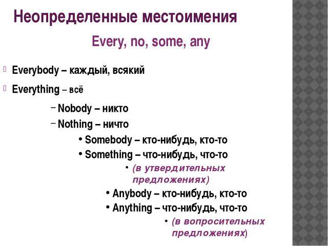 Неопределенные местоимения Everybody – каждый, всякий Everything – всё Nobody...