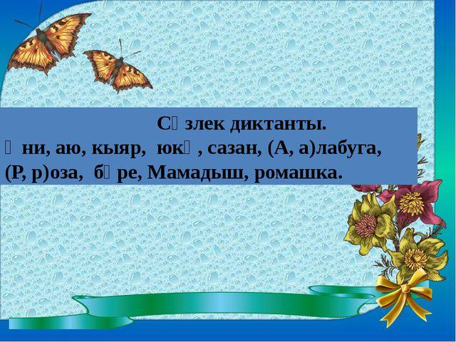 Сүзлек диктанты. Әни, аю, кыяр, юкә, сазан, (А, а)лабуга, (Р, р)оза, бүре, М...