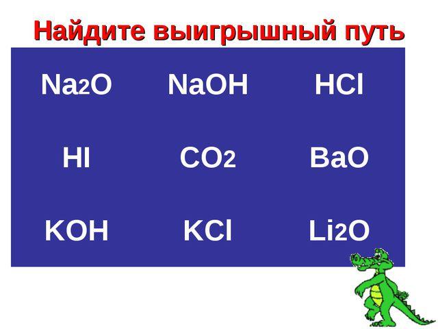 Найдите выигрышный путь Na2ONaOHHCl HICO2BaO KOHKClLi2O