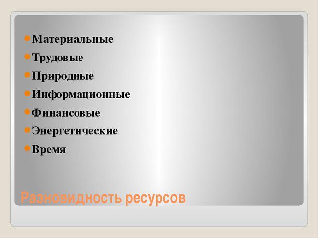 Разновидность ресурсов Материальные Трудовые Природные Информационные Финансо...