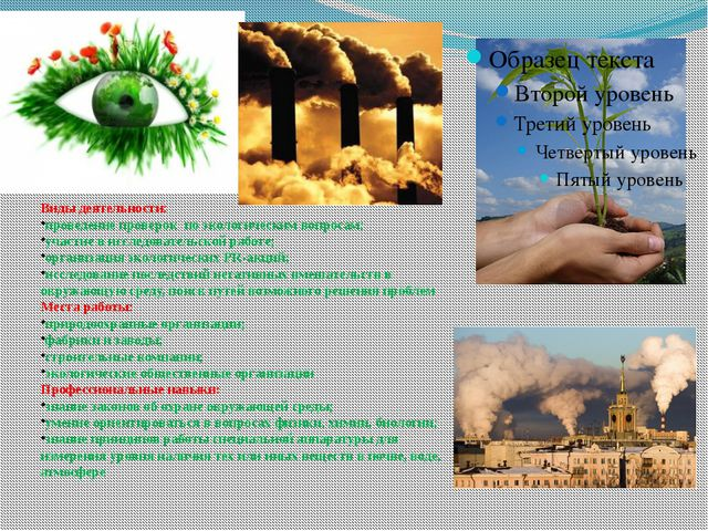 Виды деятельности: проведение проверок по экологическим вопросам; участие в...
