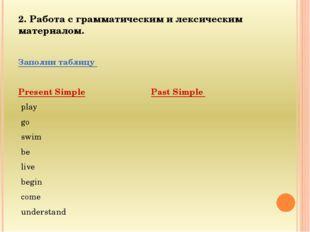2. Работа с грамматическим и лексическим материалом. Заполни таблицу Present