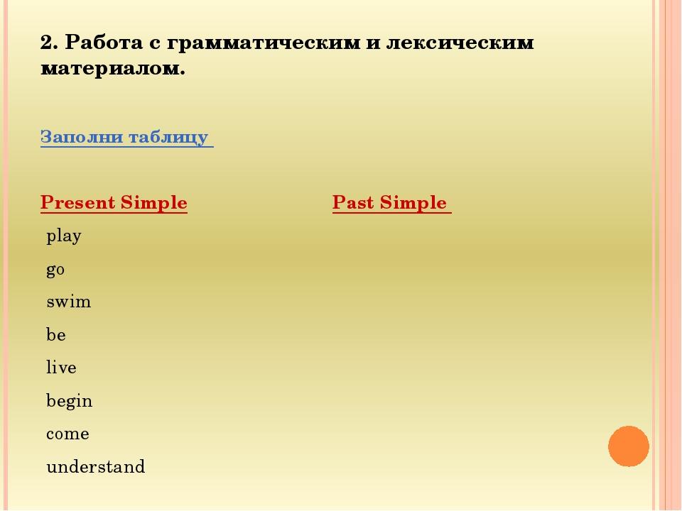 2. Работа с грамматическим и лексическим материалом. Заполни таблицу Present...