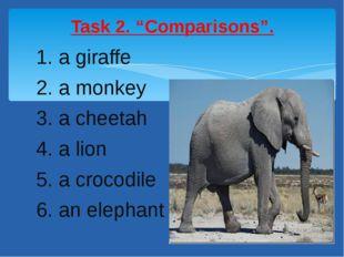 1. a giraffe 2. a monkey 3. a cheetah 4. a lion 5. a crocodile 6. an elephant