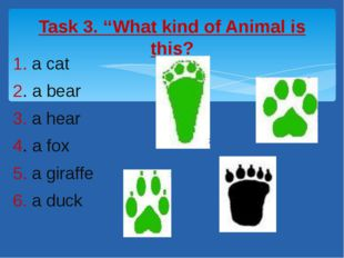 1. a cat 2. a bear 3. a hear 4. a fox 5. a giraffe 6. a duck Task 3. ''What k