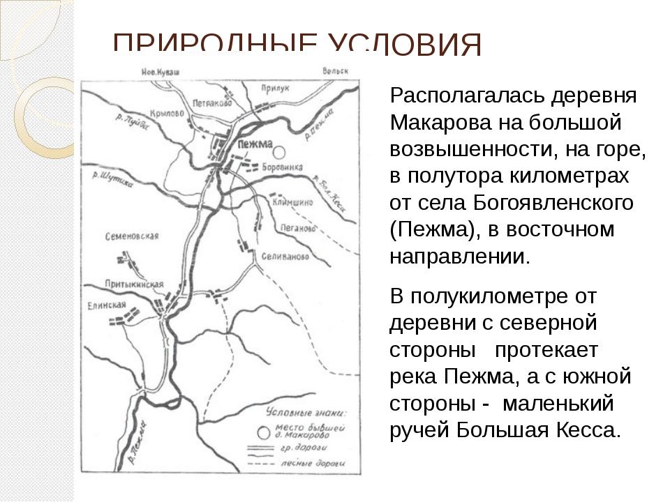 ПРИРОДНЫЕ УСЛОВИЯ Располагалась деревня Макарова на большой возвышенности, на...