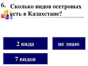 Сколько видов осетровых есть в Казахстане? 7 видов 2 вида не знаю 6.