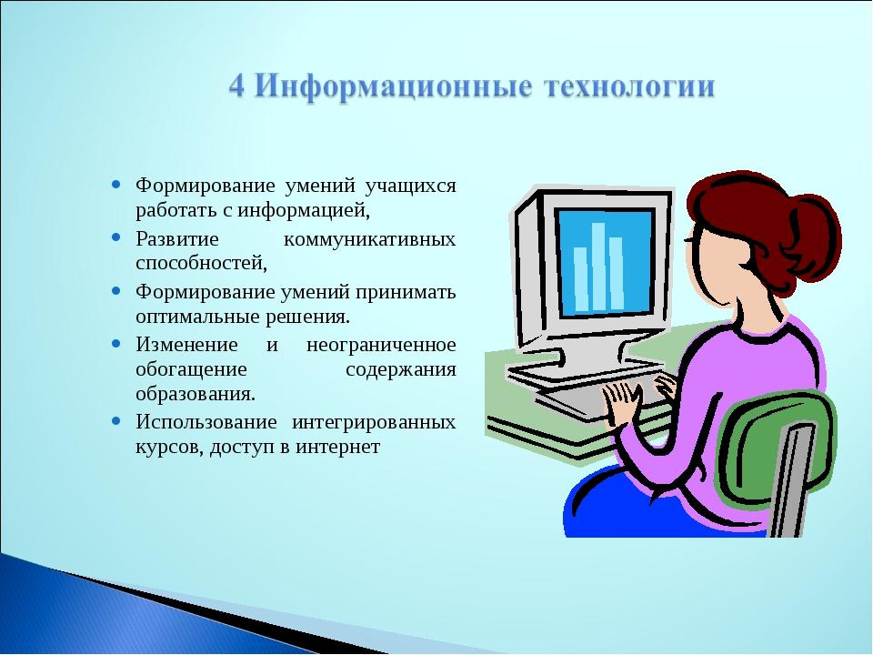 Формирование умений учащихся работать с информацией, Развитие коммуникативны...