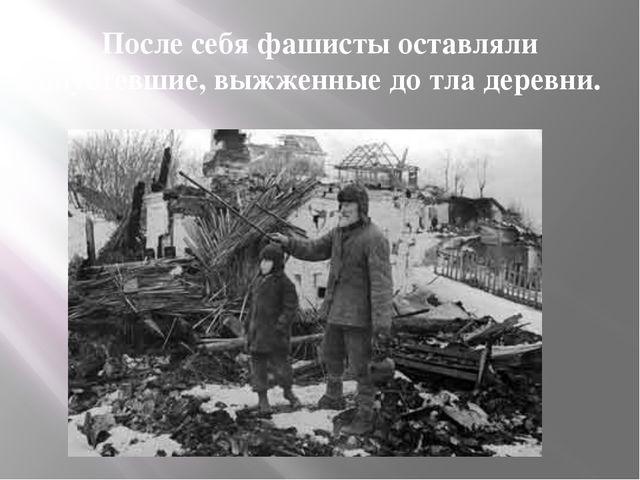 После себя фашисты оставляли опустевшие, выжженные до тла деревни.