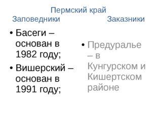 Пермский край Заповедники Заказники Басеги – основан в 1982 году; Вишерский –
