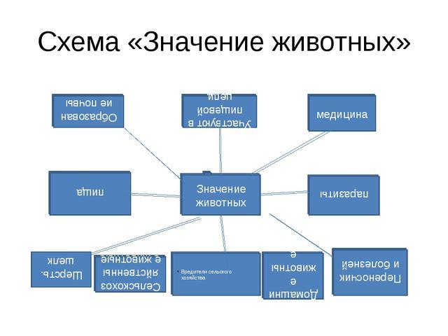 Схема «Значение животных» Значение животных Вредители сельского хозяйства пар...