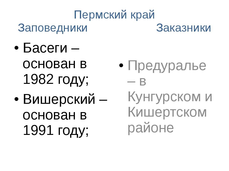 Пермский край Заповедники Заказники Басеги – основан в 1982 году; Вишерский –...