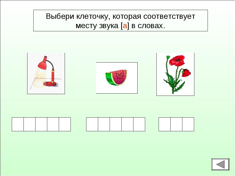 Выбери клеточку, которая соответствует месту звука [а] в словах.