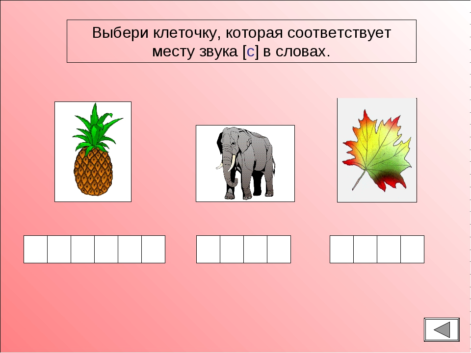 Выбери клеточку, которая соответствует месту звука [с] в словах.
