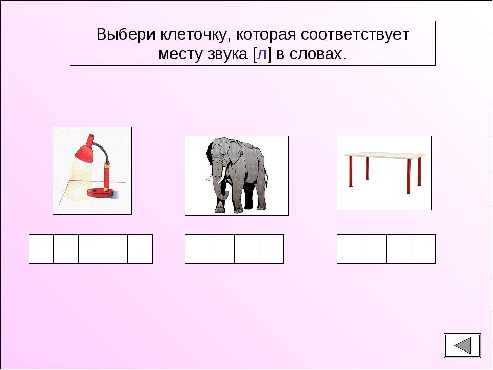 Выбери клеточку, которая соответствует месту звука [л] в словах.
