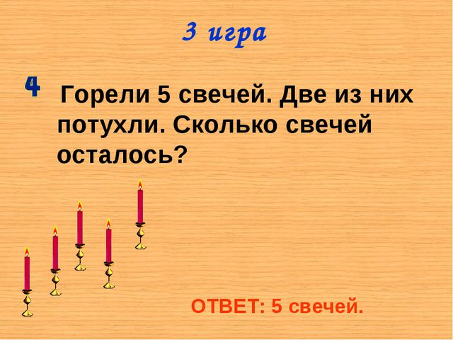 3 игра Горели 5 свечей. Две из них потухли. Сколько свечей осталось? ОТВЕТ: 5...