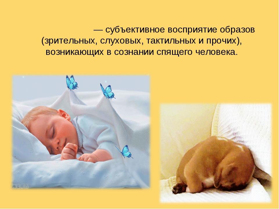 Сновиде́ние — субъективное восприятие образов (зрительных, слуховых, тактиль...