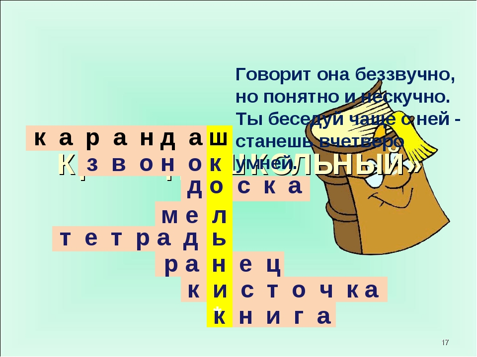 Кроссворд «ШКОЛЬНЫЙ» * * к а р а н д а ш з в о н о к д о с к а м е л т е т р...