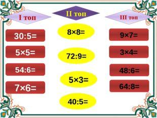 30:5= 7×6= 54:6= 5×5= 8×8= 72:9= 5×3= 40:5= 9×7= 64:8= 48:6= 3×4= І топ ІІІ т