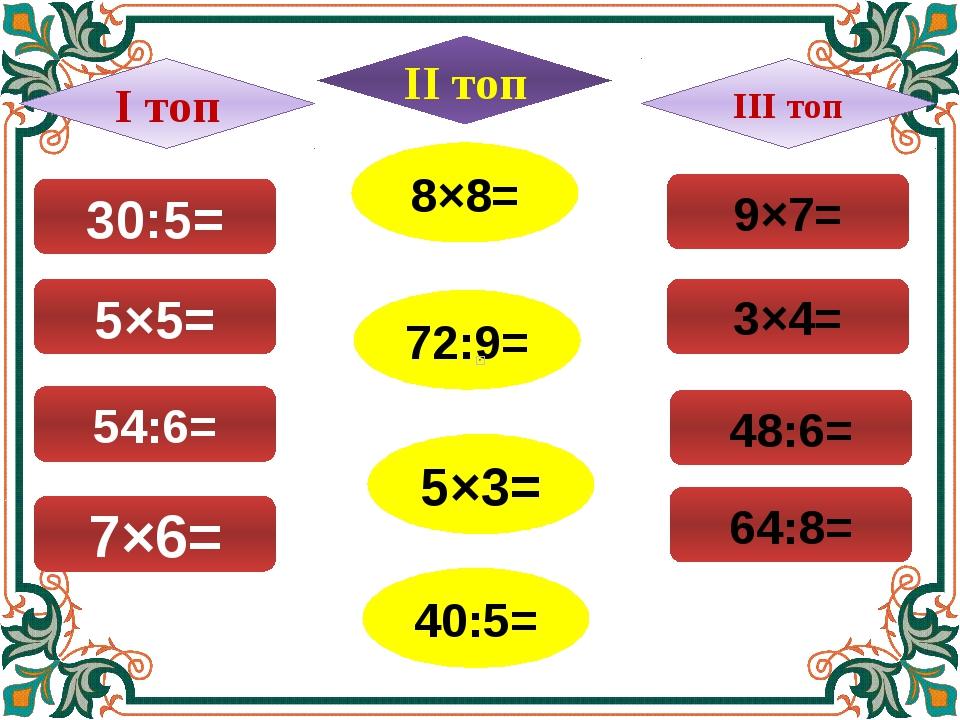 30:5= 7×6= 54:6= 5×5= 8×8= 72:9= 5×3= 40:5= 9×7= 64:8= 48:6= 3×4= І топ ІІІ т...