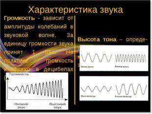 Характеристика звука Громкость - зависит от амплитуды колебаний в звуковой во