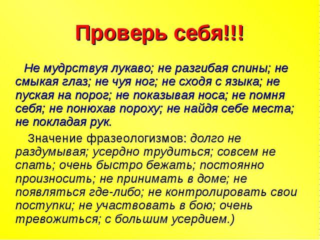 Проверь себя!!! Не мудрствуя лукаво; не разгибая спины; не смыкая глаз; не чу...