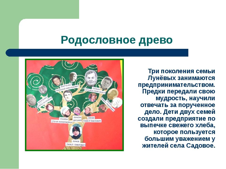 Родословное древо Три поколения семьи Лунёвых занимаются предпринимательством...
