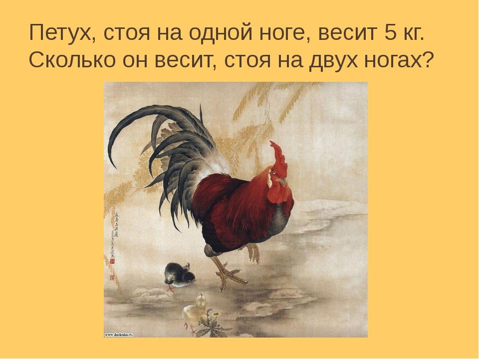 Петух, стоя на одной ноге, весит 5 кг. Сколько он весит, стоя на двух ногах?