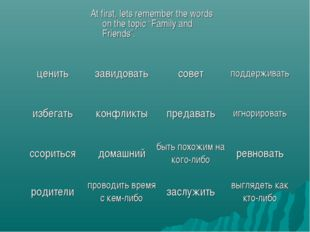 """At first, lets remember the words on the topic """"Family and Friends""""."""